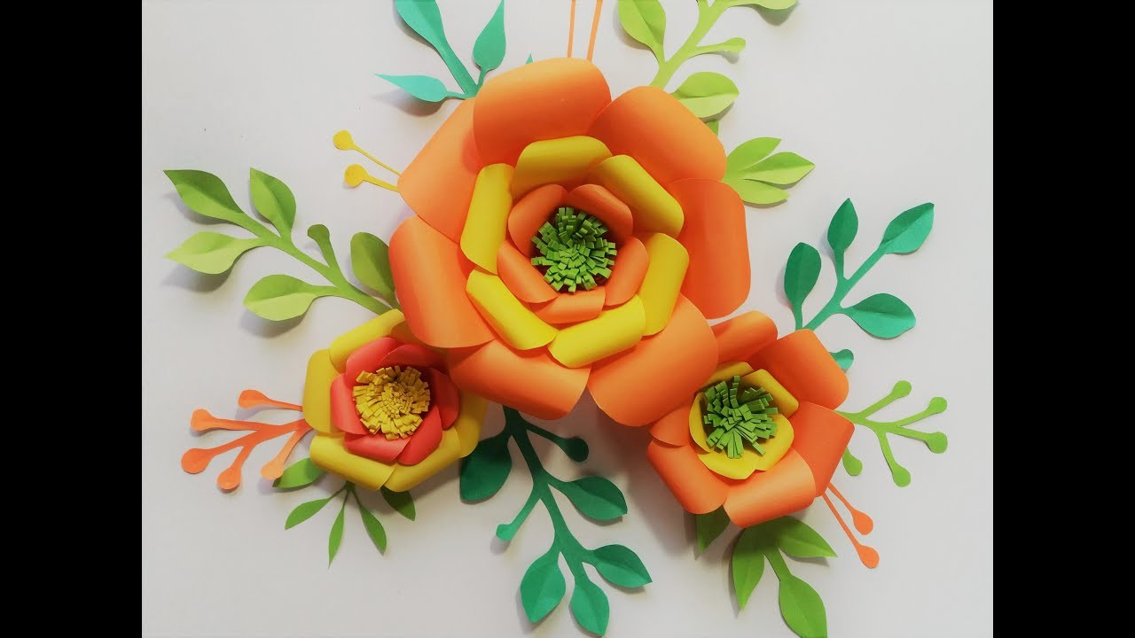 How to make 3d render craft paper flowers.Paper Flower Backdrop.paper craft wall mate 2019
