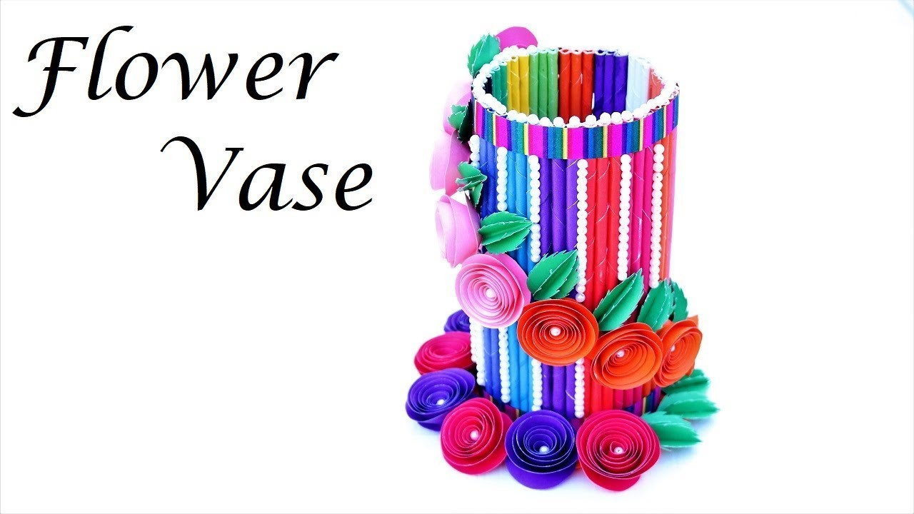 How to make paper vase ( very easy ) diy craft | Origami flower vase tutorial