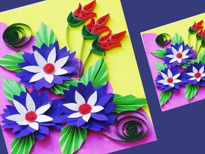 Paper Craft || How to Make Paper Quilling Flowers Design Card || Paper Tutorial ||