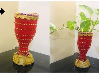 Plastic Bottle Flower Vase | Plastic Bottle craft ideas | How to make Flower vase from Bottle