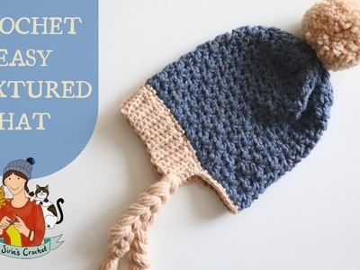 Crochet Easy Textured Hat. Beginner Friendly Tutorial
