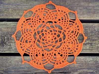 Crochet Pineapple Doily Tutorial Part 2 Round 8 - 12