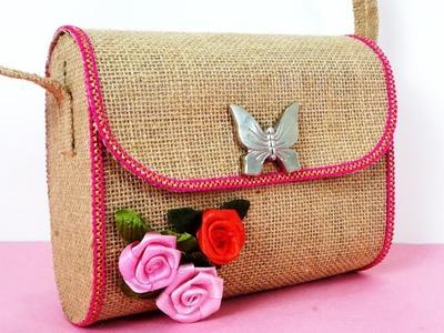 DIY Jute Bag - How to Make Multiuse Handmade Jute Bag || DIY Purse Making || No  Sew Purse