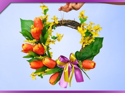 DIY Spring door wreath made out of twigs and artificial flowers (ENG Subtitles) - Speed up #575