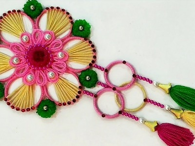 DIY Wall Hanging Out Of Waste Bangles and Wool.Amazing Home Decor Idea