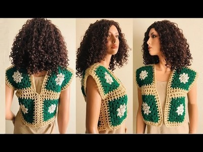How to Crochet a Cluster Granny Stitch Vest Pattern #914│by ThePatternFamily