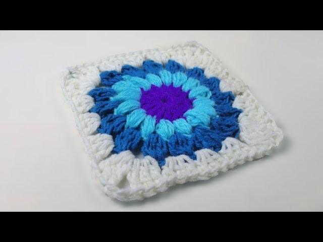 How to crochet a starburst granny square.kushi katar granny square.design #4  crosia work
