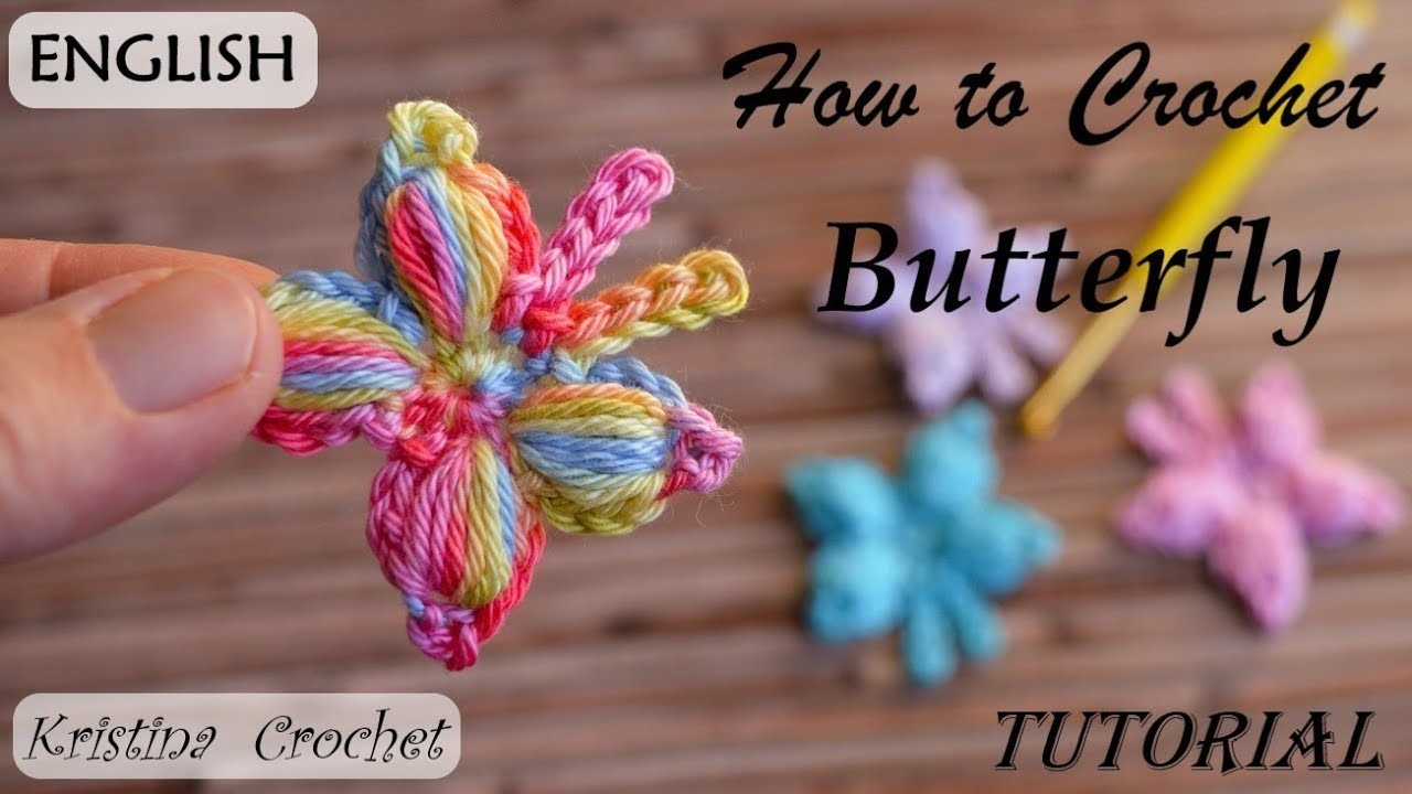 How to Crochet Butterfly TUTORIAL (English)
