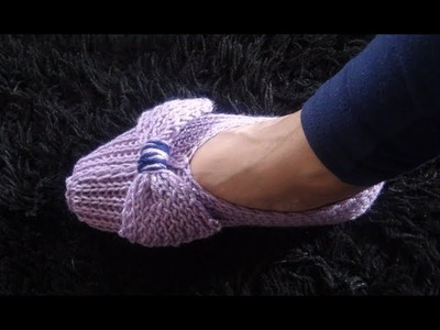 How to Knit Slippers with a Bow Pattern #916│by ThePatternFamily