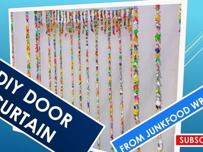 HOW TO MAKE A DOOR CURTAIN OUT OF JUNKFOOD WRAPPERS