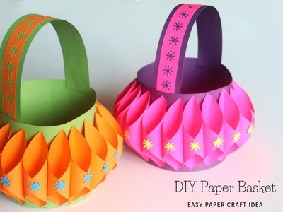 How To Make Paper Basket | Easy Paper Crafts | Easter Basket Ideas