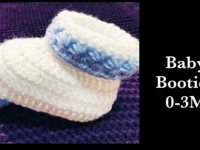 LEFT - Baby Set: How to crochet easy star stitch cuffed baby booties | shoes | boots 0-3M #178