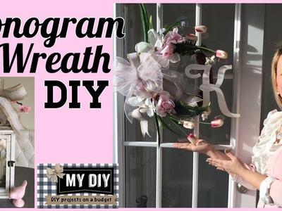 Monogram Wreath DIY for front door. QUICK & CHEAP!