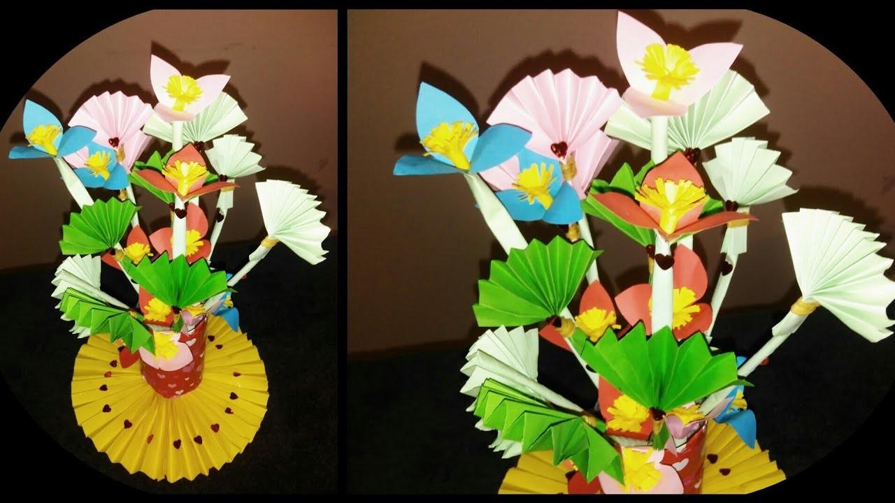 Paper Flower How To Make Paper Flower And Plastic Bottle Flower Vase