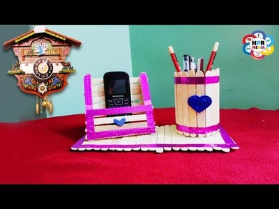 Pen stand and Mobile phone holder with ice cream sticks | How to make Pen stand By HPR Media