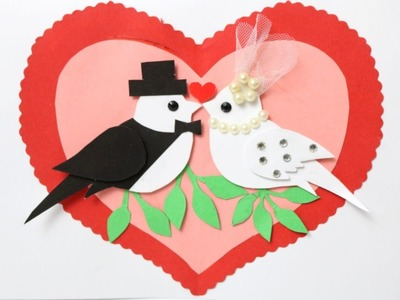Beautiful Wedding Anniversary Card |How to make Love Birds Greeting Card For wedding| Love  card