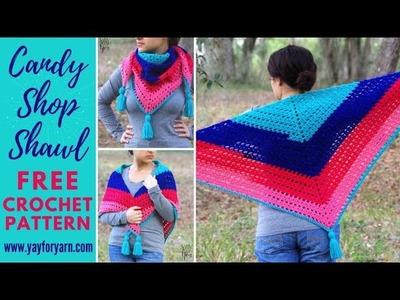 Candy Shop Shawl - Free Triangle Shawl Crochet Pattern | Yay For Yarn