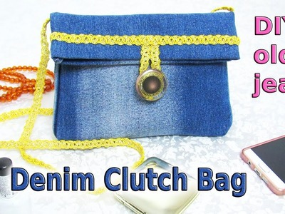 DIY Denim Clutch Bag Out Of Old Jeans - How To Make No Sew Cross Body Bag - Old Jeans Crafts