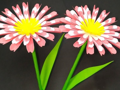 Flower Making with Paper! Stick Flower Handcraft Easy Idea for Decoration | Jarine's Crafty Creation