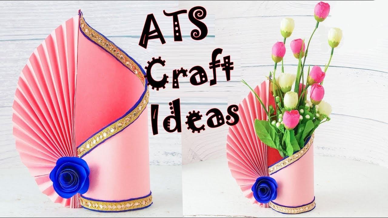 How To Make A Flower Vase At Home Making Paper Flower Vase Diy