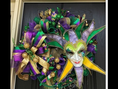 How to make a Mardi Gras wreath poof with woodland ruffle and big easy bow