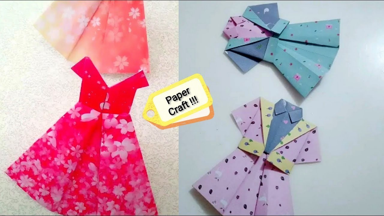 How to make a paper dress | Origami clothes for dolls | Paper dress making origami easy for kids
