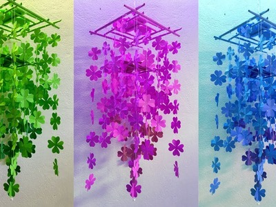 How to Make Easy And Simple Paper Wall Hanging - DIY Wind Chime with Beautiful Lucky Grass