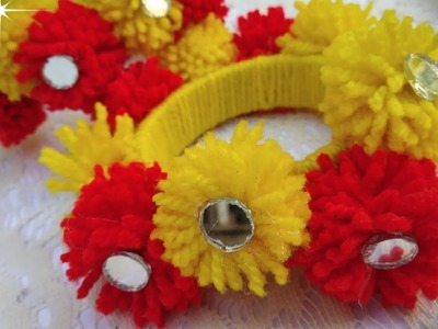 HOW TO MAKE JEWELLERY USING WOOL AND OLD BANGLES   BEAUTIFUL JEWELLERY FOR HALDI AND MEHDI CEREMONY