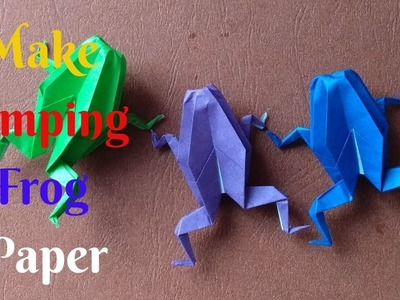 How To Make Paper Jumping Frog #2   Diy Origami Paper Frog   Home Diy Crafts Paper