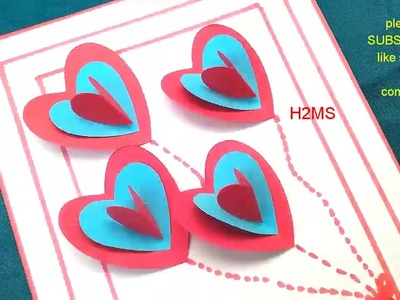 How to make simple and easy handmade heart greeting cards l mother's day card ,DIY 3d popup greeting