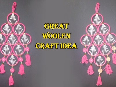 How To Make Wall Hanging With Bangles & Woolen | Best Out of Waste Bangles and Woolen Craft Idea