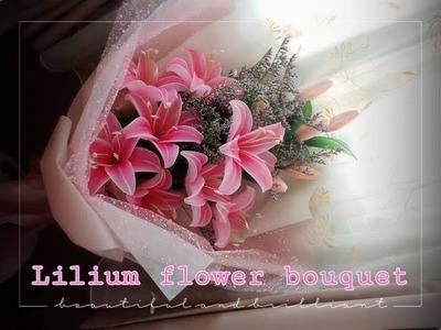 Lilium flower bouquet  How to make nylon.stocking flower by ployandpoom(ผ้าใยบัว)2.2