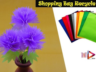 Reusable Carry Bags Flower Crafts | How To Make Stick Flowers Using Shopping Bag