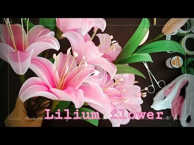 ดอกลิลลี่ ( lilies flower)   How to make nylon.stocking flower by ployandpoom(ผ้าใยบัว) 1.2
