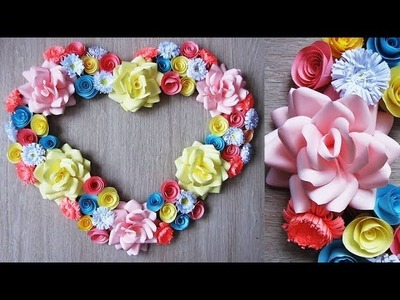 Wall Decoration Ideas. Heart Design Valentine's Day Room Decor Ideas. Paper Flower Wall Hanging 7