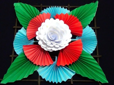 Wall hanging ideas ! How to make paper flower wall hanging ! Paper wall hanging craft ! Bk craft tv