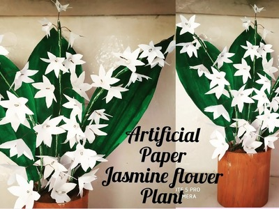 Artificial Paper Jasmine flower plant. How to make artificial flower plant. Jasmine flower plant