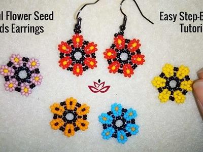 Colorful Flower Seed Beads Earrings - Tutorial