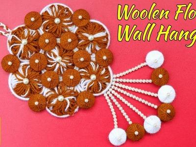 DIY Wall Hanging Out Of Wool. Wool Flower Making. Amazing Woolen Door Hanging Toran