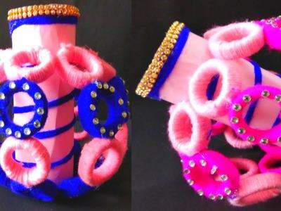 DIY-Woolen Flower POT New Idea WITH Newspaper.Flower Pot.Waste Newspaper Flower Vase.DIY Craft