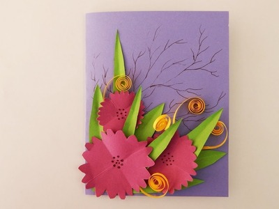 Greeting card with flowers DIY scrapbooking Karte mit Blumen
