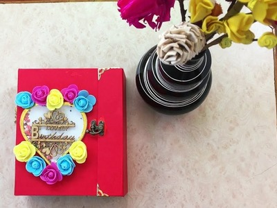 HBD scrapbook (flowers+shaker) handmade by sajeda sheliya