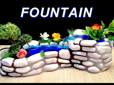 How to make a Beautiful Waterfall Fountain used stones. DIY
