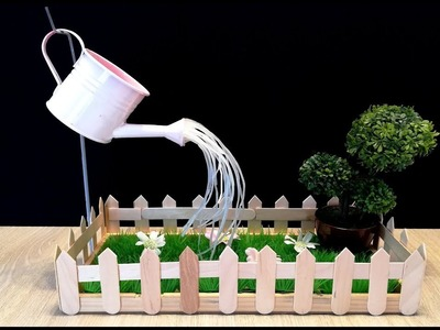 How to make mini Garden and hot glue Fountain. DIY