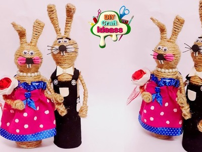 New Idea for ur Home Decor || jute rabbits diy idea || Easy 10 minutes Craft With Jute