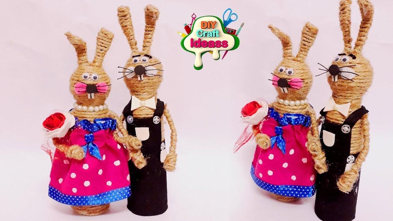 New Idea for ur Home Decor || jute rabbits diy idea || Easy 10 minutes Craft With Jute
