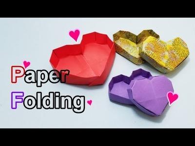 Okay! ll Origami Paper Folding Heart Shape Box, 종이접기, 折り紙