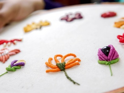 10 TYPES OF FLOWERS with Bullion Stitch: HAND EMBROIDERY FOR BEGINNERS
