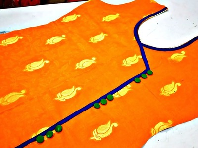 Angrakha with patti & Buttons neck design cutting and stitching in Hindi.