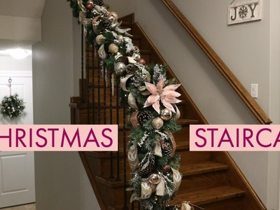 Decorate  With Me! Staircase For Christmas.How To Decorate Staircase For Christmas
